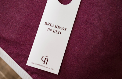 Breakfast in bed at The Chamberlain Hotel London Tower Hill